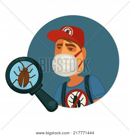 Man in protective facial mask, special uniform and red cap who exterminates pests and disgusting small cockroach under big magnifier isolated cartoon flat vector illustration on white background.