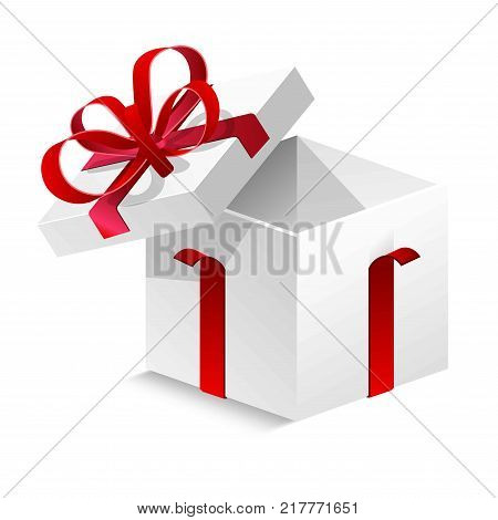 Cubic gift box with silk red ribbon and big bow isolated cartoon flat vector illustration on white background. Adorable cardboard compact container for present with open cover and empty inside.