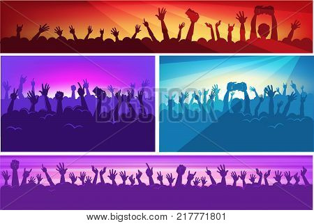 Human silhouettes in massive crowd with raised hands that hold modern devices in colorful neon spotlights at concert cartoon flat vector illustrations set. People have fun at music performance.