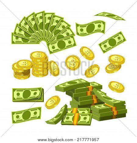 Paper money and gold coins in big amounts, that lies in shape of fan, messy heap tied with rubber band, neat piles and drop from above isolated cartoon vector illustrations set on white background.