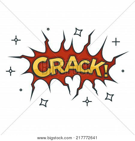 Crack sound visualization with red split and stars around. Gold sign with exclamation mark inside cleavage isolated cartoon flat vector illustration on white background. Special effect for comics.