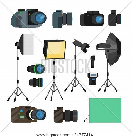 Photographer Tools Set Vector. Photography Objects. Photo Equipment Design Elements, Accessories. Modern Digital Cameras, Tools For Professional Studio Photography. Isolated Flat Illustration