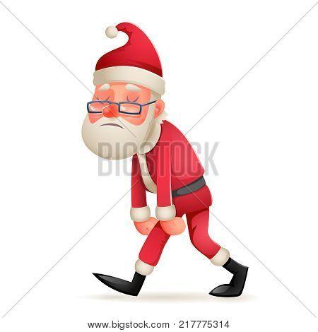 Vintage Walk Tired Sad Weary Santa Claus Icon Character Retro Christmas Cartoon Design Vector Illustration