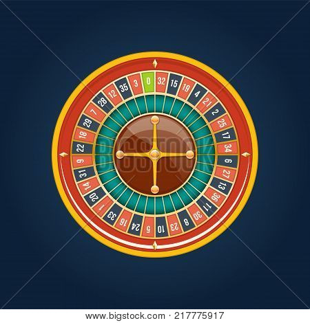 Realistic casino gambling roulette wheel. Play chance luck roulette wheel. Roulette wheel, lucky, success, financial growth, money profit. Slot machine in casino, gambling. Vector illustration