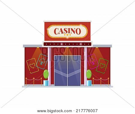 Modern architectural casino building, a gambling house for games. The building for night and day games, relaxation, growth of financial well-being, appearance of the premises. Vector illustration.