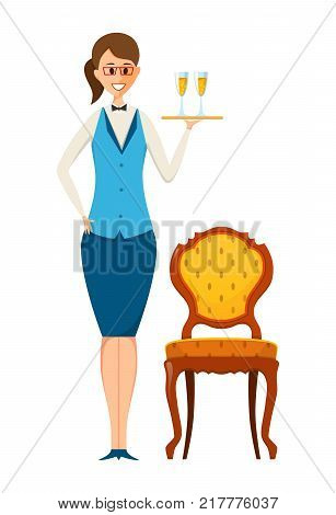Staff set. Food restaurant worker, cafe, casino. Waiter, in branded clothes takes the order, brings a drinks. Vector illustration isolated in cartoon style.