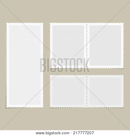 Postage stamps template. Blank rectangle square postage marks minisheet with shadows. Flat style modern vector illustration with retro colors. For for envelopes postcard or letter retro style paper.