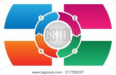 Four Step Process Flow Corporate Info-graphic Vector