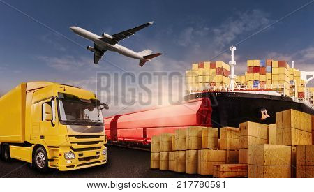 Truck rail air and ship transport boxes symbolizing the international trade