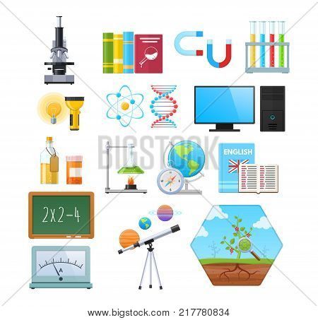 Set of objects of natural sciences. Physics, astronomy and geography, biology, natural history, arithmetic, research and school. Education, science, study of new information. Vector illustration