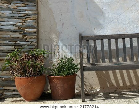 Still Life With Flowers And Bench