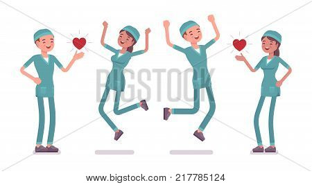 Male and female nurse in positive emotions. Young workers in hospital uniform happy at work, enjoy. Medicine and healthcare concept. Vector flat style cartoon illustration isolated, white background