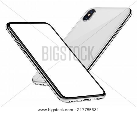 New frameless smartphones mockup. Smartphones similar to iPhone X with blank white screen both sides soaring in the air. Isolated on white background. poster