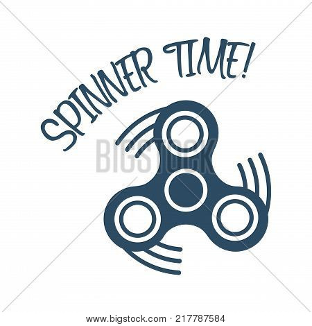 Spinner time text with trendy stress relieving toy isolated on white background. Symbol for your web site design logo app