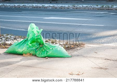 Two green garbage plastic bags full of industrial salt prepared for cleaners to put on the street when snow cover the road, traffic and pedestrians safety concept