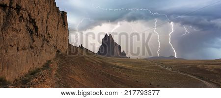 A Violent Thunderstorm at Shiprock in New Mexico