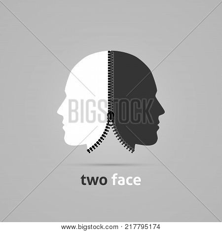 Two faced head. Creative concept with zipper. Vector illustration