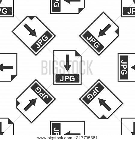 JPG file document icon. Download JPG button icon seamless pattern on white background. Flat design. Vector Illustration