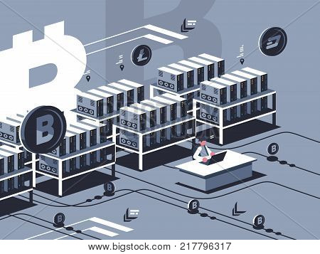 Mining crypto currency. Farm for mining bitcoins. Vector flat illustration