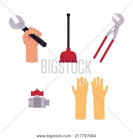 vector flat plumbing tools and equipment set. Man hand holding monkey plumbing adjustable wrench or spanner, pipe wrench, water valve, gloves and plunger. Isolated illustration on a white background.