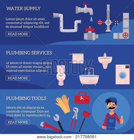 vector plumbing concept infographic posters set. man blumber in uniform and mustache holding case with tools thumbs up, winking, water valve, plunger, pipe, monkey wrench, domestic blumbing.