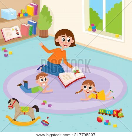 vector flat boy and girl kids lying at carpet with train, rocking horse, cubics toys and ball near woman teacher reading book to them explayning in kindergarten. Isolated illustration white background