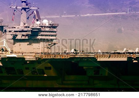 Navy Aircraft Carrier showing military personal CVN