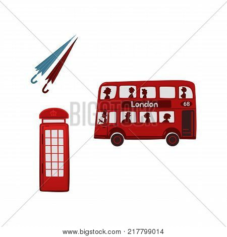 vector flat United kingdom, great britain symbols set. British red phone booth, double decker bus and pair of rain umbrella icon. Isolated illustration on a white background