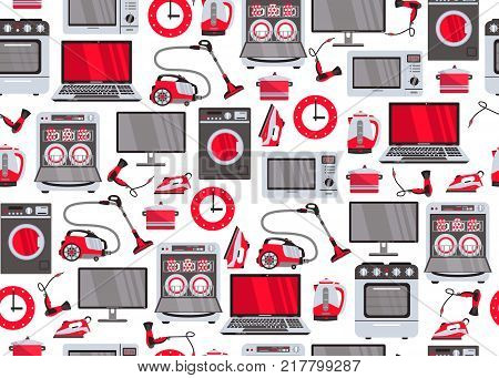 vector home appliance seamless pattern. Gas stove, dishwasher, washing machine, electric kettle teapot, hair dryer, iron, vacuum cleaner, laptop, monitor clock, fridge on white background illustration