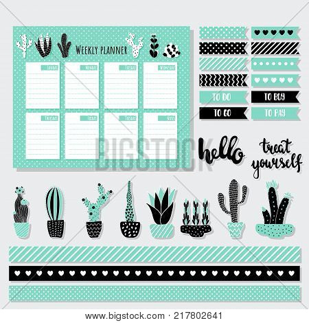 vector set of stationery collection weekly planner stickers cactus illustration