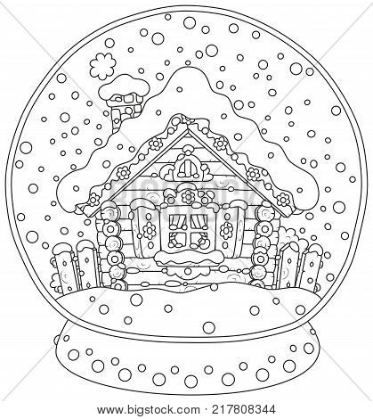 Black and white vector illustration of a Christmas crystal ball with a snow-covered small log house and falling snow inside