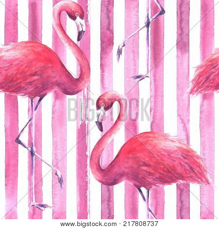 Seamless Pink Flamingos Pattern