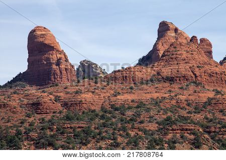 A close up of the famous red rocks in Sedona