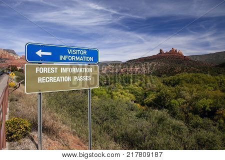A recreation sign against a scenic background in Arizona