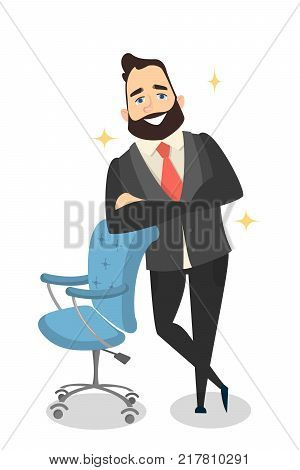 Isolated confident smiling businessman leaning on office chair.