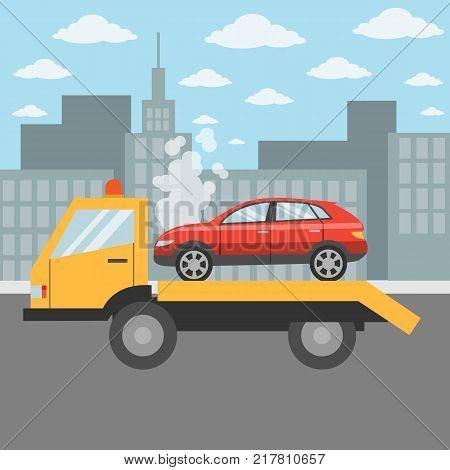 Car on tow truck on the city street. Car evacuation.
