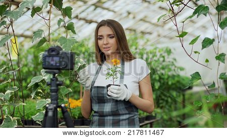 Young smiling blogger woman florist in apron talking and recording video blog for her online vlog about the gardening