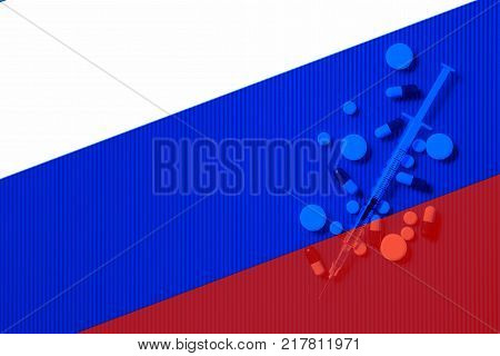 Medical syringe with doping against the background of the flag of Russia. Concept of doping in sport poster