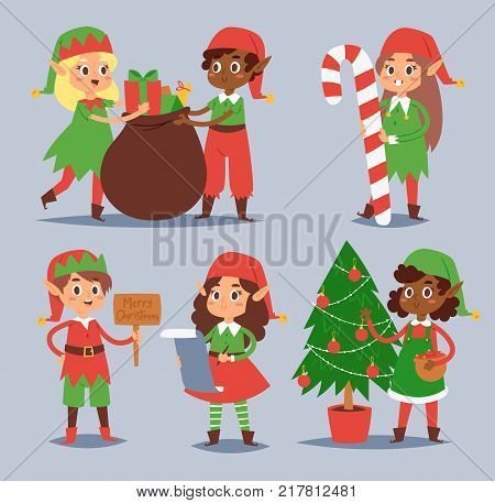 Christmas elfs kids vector children Santa Claus helpers cartoon elfish boys and girls young characters traditional costume celebrated Christmas