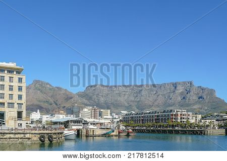 Cape Town South Africa August 2009 on sunny days the pedestrian area of Cape Town is frequented by tourists from all over the world who like to walk here to admire the beautiful panorama