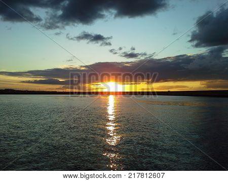 Sunset Over Scotsman's Bay, Dun Laoghaire, Dublin, Ireland