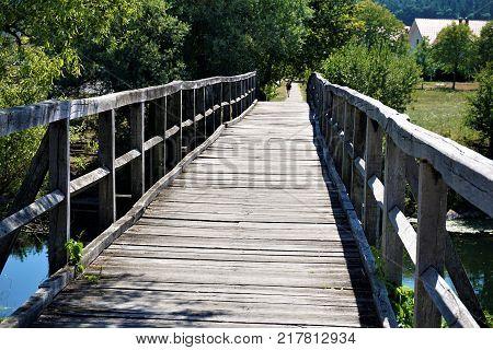 Bridge over the Krka river in Kostanjevica na Krki Slovenia