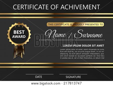 Luxury certificate of achivement template with golden award badge. Modern diploma blank
