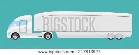 Big electric future commercial semi truck with trailer. Trailer green technology truck in flat style isolated. Delivery and shipping business cargo truck. Vecror illustration.