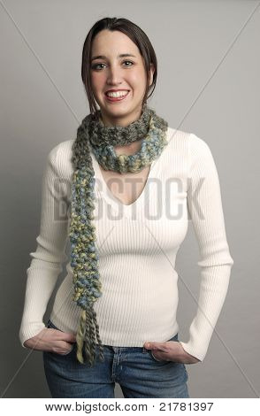 Woman Modeling A Scarf