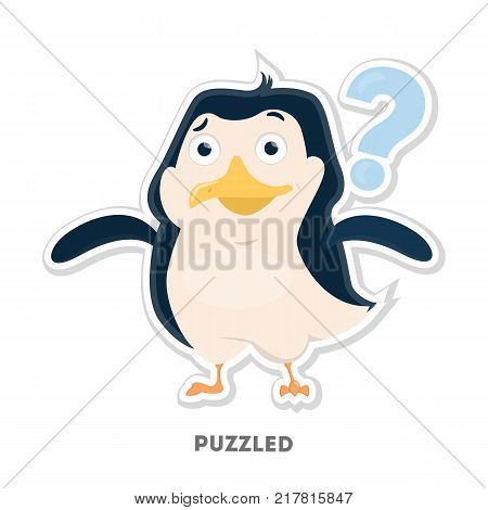 Isolated puzzled cartoon penguin on white background.