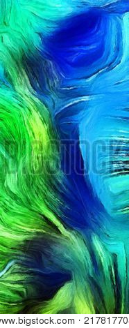 Fluid lines of color movement. Green is a main color. Oil painting. 3D rendering.