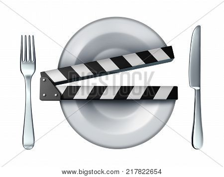 Food video and cooking movie clapper concept or streaming culinary course concept as a dinner plate shaped as a clapboard as a 3D illustration.