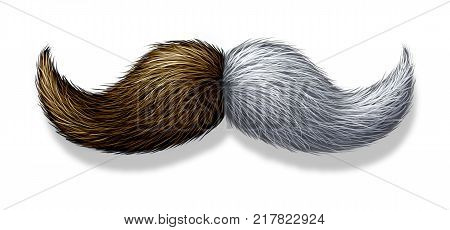 Young and old aging concept as a moustache or mustache with youthful brown hair on one side and aged white follicles on the other in a 3D illustration style.