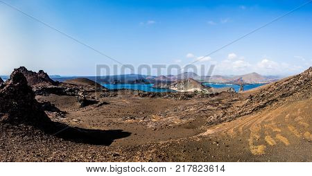 Beautiful Galapagos landscape view of Bartolome Island with mountains sea and blue sky